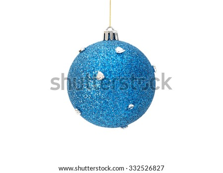 Christmas blue ball with silver hearts isolated on white background. Selective focus on the top - stock photo