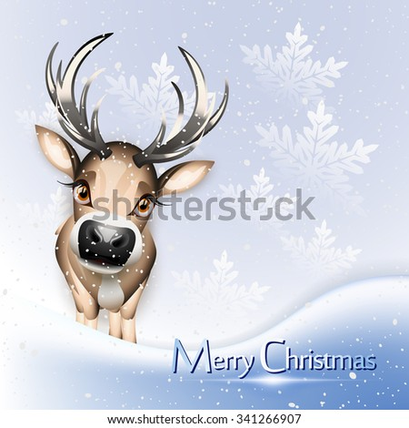 Christmas blue card with cute reindeer over snow - stock photo
