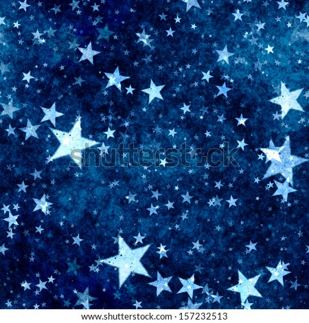 Christmas blue stars background with grunge effect - stock photo