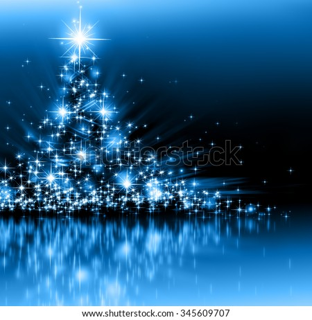 Christmas blue tree, beautiful snowflakes and shining stars - stock photo