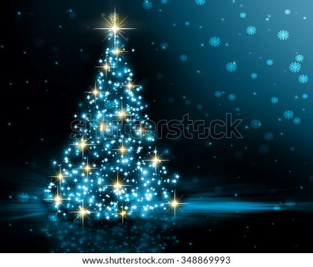 Christmas blue tree, beautiful snowflakes and shining stars. Christmas lights - stock photo