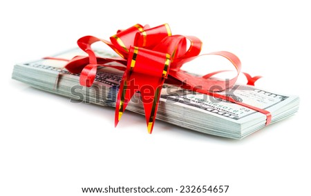 Christmas Bonus Stack of Cash With Red Bow Isolated on White Back Ground.  - stock photo