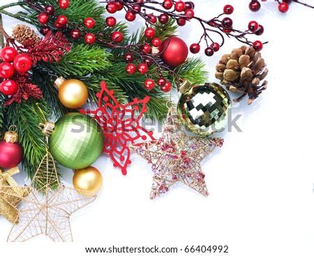 Christmas border design over white - stock photo