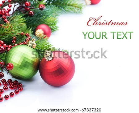 Christmas border over white - stock photo