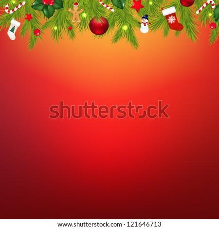 Christmas Border With Garland - stock photo