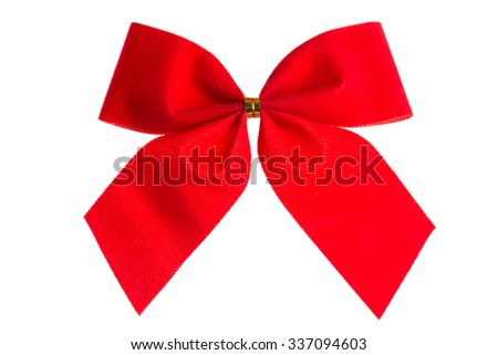 Christmas bow red color isolated on white background - stock photo