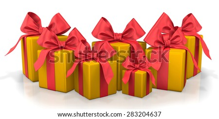 christmas box gold red 3d render - stock photo