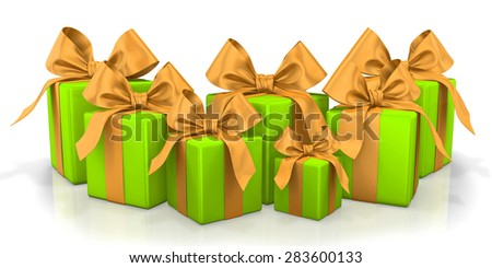 christmas box green 3d render - stock photo