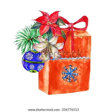 Christmas branch and gift , watercolor, illustration - stock photo