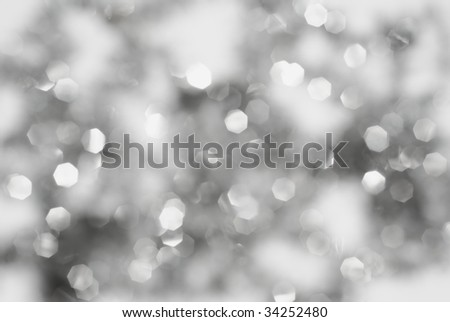Christmas bright silver lights background - stock photo