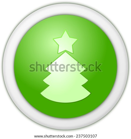 Christmas button green - stock photo