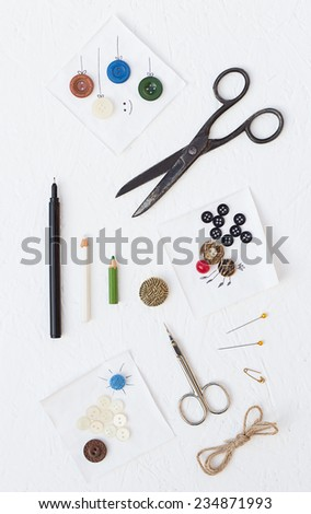 Christmas Buttons Cards Making Set - stock photo