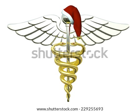 Christmas Caduceus - A Gold and Silver Caduceus Medical Symbol wearing a Santa Hat for Christmas.  - stock photo