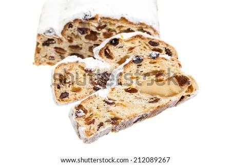 Christmas cake slices isolated on white background - stock photo