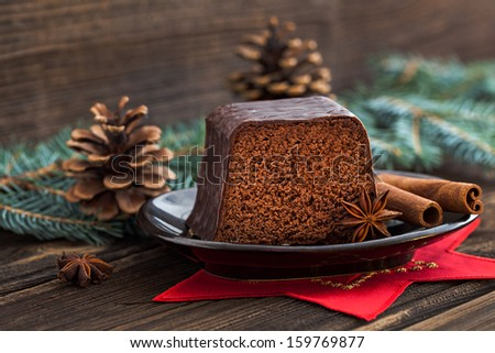 christmas cake with anise and cinnamon  - stock photo