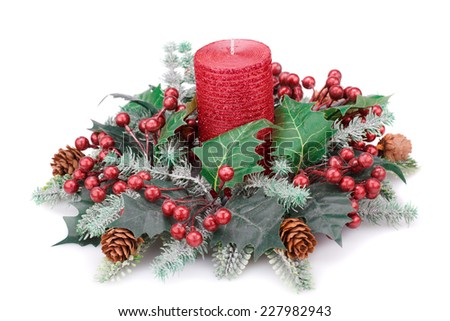 Christmas candle and decoration isolated on white background. - stock photo
