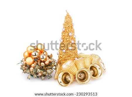 Christmas candle, bells and  decoration  isolated on white background. - stock photo