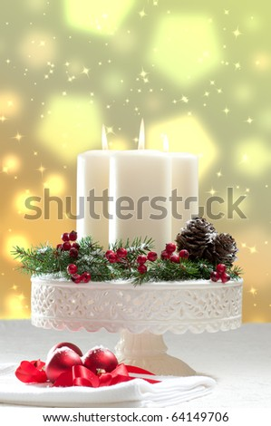 Christmas candle decoration with bokeh background - stock photo
