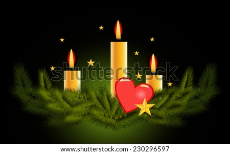 Christmas candle vector background  - stock photo
