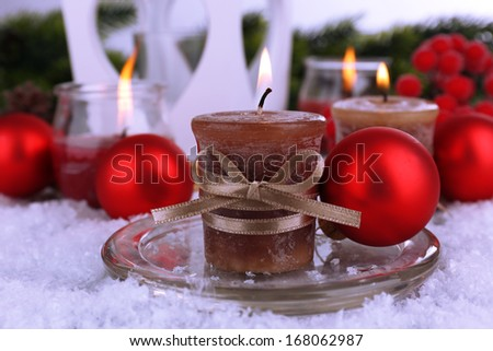Christmas candles close up - stock photo