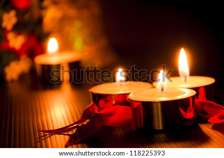 christmas candles with lights background - stock photo