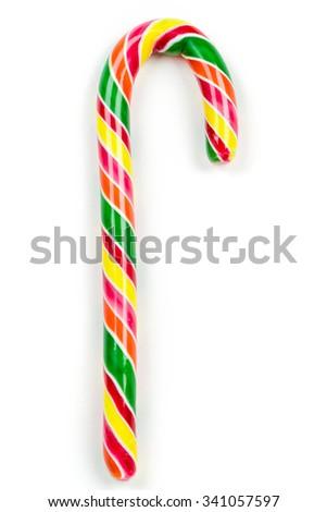 Christmas candy cane isolated on white. Studio shot - stock photo
