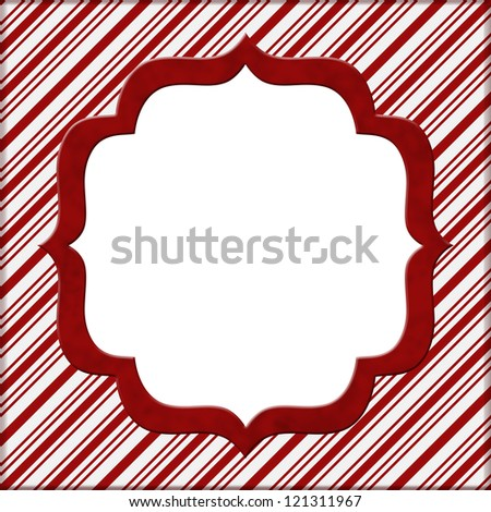Christmas Candy Cane Striped background for your message or invitation with copy-space in middle - stock photo