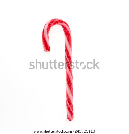Christmas candy canes isolated on white background - stock photo
