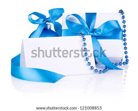 Christmas Card and gift with Blue Ball, ribbon bow, beads isolated on white background - stock photo