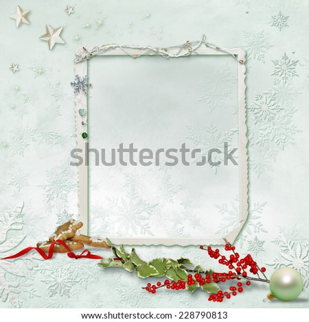 Christmas card Christmas tree and snowflakes and place for text - stock photo