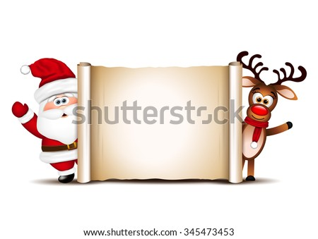 Christmas card design template. Santa Claus and his reindeer.  - stock photo
