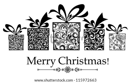 Christmas card. gifts box with ribbon. Illustration - stock photo