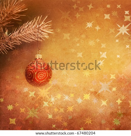 Christmas card in vintage style. Brown color. - stock photo
