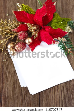 Christmas card note with space and christmas composition. - stock photo