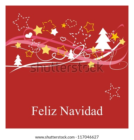 Christmas card or invitation for party with Merry Christmas wishes in espanol: Feliz Navidad. Classic illustration with red background, white and yellow stars, trees and hearts. - stock photo