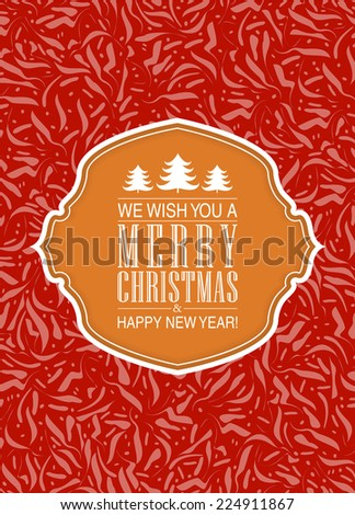 Christmas card or invitation with floral ornament background. Perfect as invitation or announcement. - stock photo