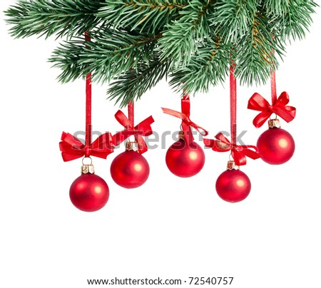 Christmas card red balls isolated on white - stock photo