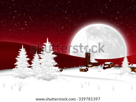 Christmas Card - Snowy Mountain Village with Big Full Moon and Starry Sky Background. Seasonal X-Mas Greeting Card Template for Wishes. Landscape Postcard - Night Sky with Red Color Gradient - stock photo