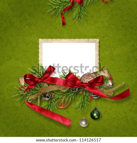 Christmas card with a frame for a photo - stock photo