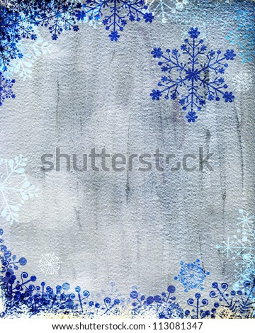 Christmas card with blue snowflakes against silver background. Plenty of copy space. Hand-painted elements with digital elements. - stock photo