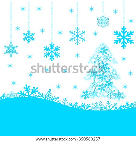 Christmas card with blue snowflakes and fir-tree on white background for your design. Winter card Merry Christmas, New Year and Happy Holiday. - stock photo