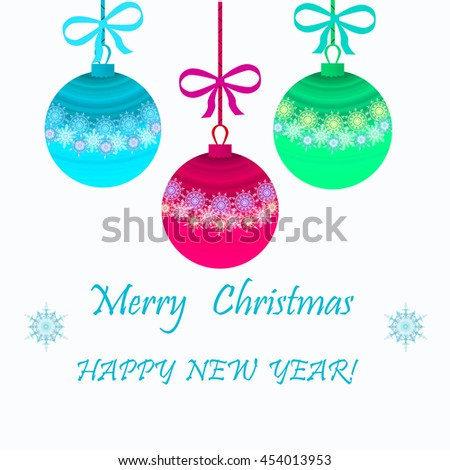 Christmas card with brightly colored balls on a white background. - stock photo
