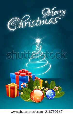 Christmas Card with Christmas Decorations and Christmas Tree - stock photo