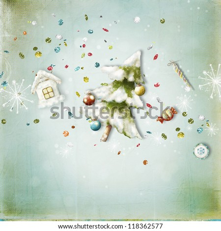 Christmas card with  Christmas tree, candy, house, sweets - stock photo
