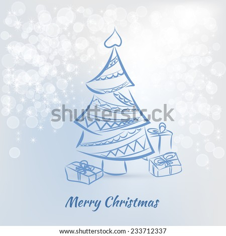 Christmas card with christmas tree on a blue background - stock photo