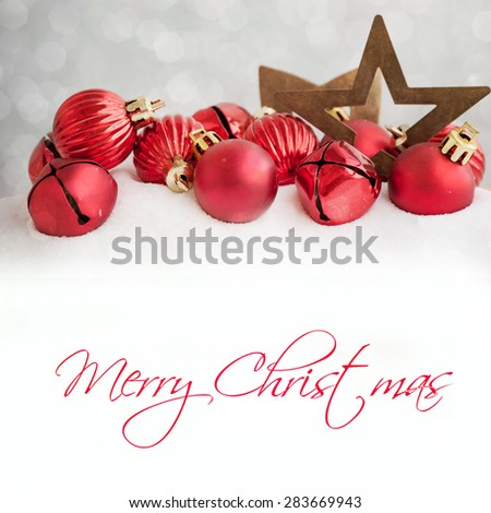 Christmas card with decoration - stock photo