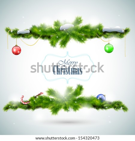 Christmas card with fir branches and balls illustration - stock photo