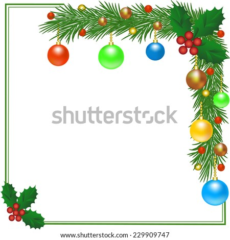 Christmas card with fir frame decorated with Christmas balls - stock photo