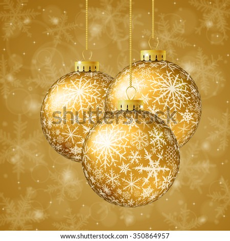 Christmas card with gold balls and snowflakes on golden background. Raster version. - stock photo