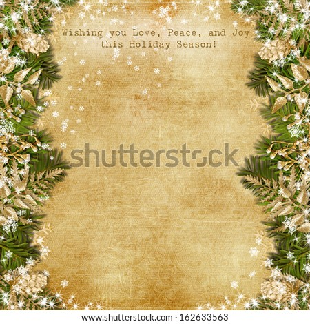 Christmas card with gold garland on vintage background  - stock photo